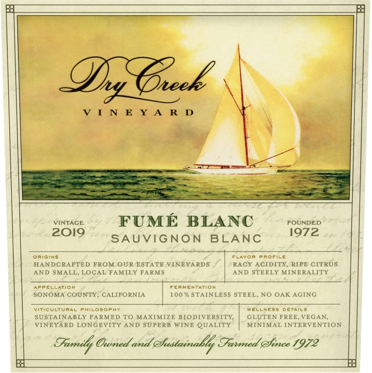 Dry Creek Vineyard Fume Blanc 2019  Front Label