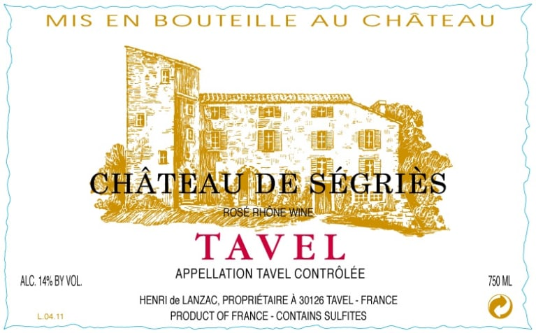 Chateau de Segries Tavel Rose 2018  Front Label