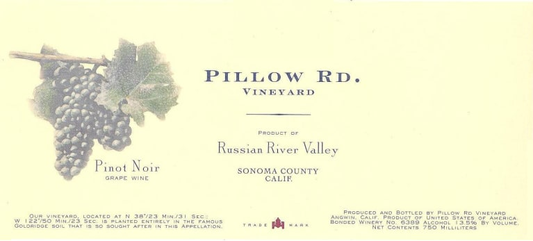 Pillow Rd. Pinot Noir 2013 Front Label