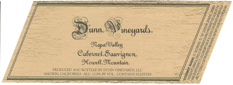Dunn Howell Mountain Cabernet Sauvignon 2003  Front Label